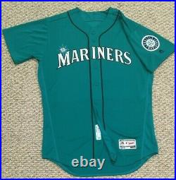 SEAGER size 46 #16 2018 Seattle Mariners GAME USED jersey home TEAL MLB HOLOGRAM