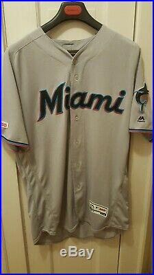 STARLIN CASTRO #13 2019 MIAMI MARLINS game used issued jersey road gray MLB HOLO