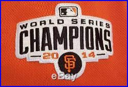 San Francisco Giants 2015 Game Worn/Used Orange Jersey, 2 Patches