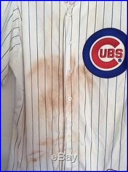 Starlin Castro 2012 Game Worn Used Jersey Ron Santo patch MLB Hologram 3 HITS 2R