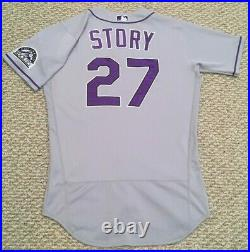 TREVOR STORY size 42 #27 2020 Colorado Rockies game used jersey road gray MLB