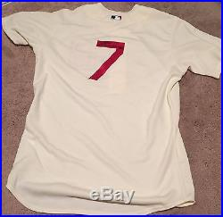 Tommy La Stella GAME USED 2014 THROWBACK JERSEY autograph SIGNED Braves Cubs