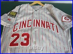 Vintage Cincinnati Reds Game Used Hal Morris Road Jersey Yankees Royals