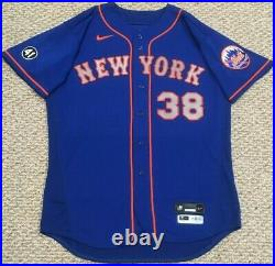 WILSON size 48 #38 2020 New York Mets game used jersey road blue 41 MLB