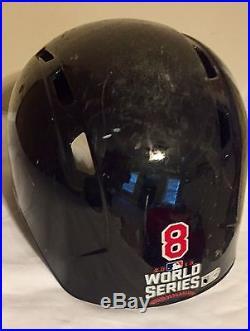 World Series 2016 Game Used Helmet, CUBS WIN, Worn Throughout Season