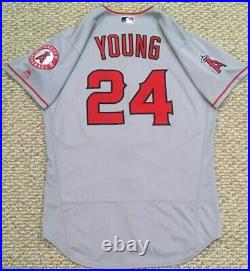 YOUNG size 44 #24 2018 LOS ANGELES ANGELS game used jersey road issued MLB HOLO