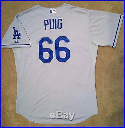 Yasiel Puig MLB Holo Game Used Jersey 2014 Away Los Angeles Dodgers