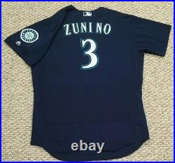 ZUNINO size 48 #3 2018 Seattle Mariners game used jersey road navy MLB HOLOGRAM